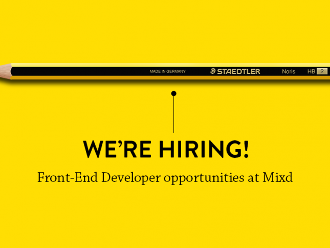 We're hiring a front end developer!