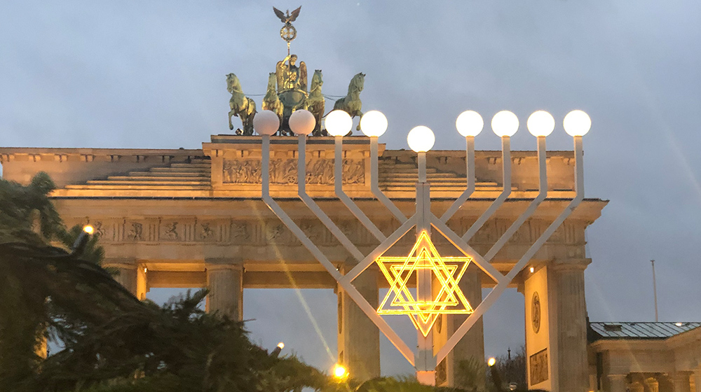 Europes largest Menorah in front of Brandenburg Gate